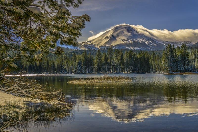 Reflexão do pico coberto de neve de Lassen e do ramo do pinho, parque nacional vulcânico do lago Manzanita, Lassen fotografia de stock