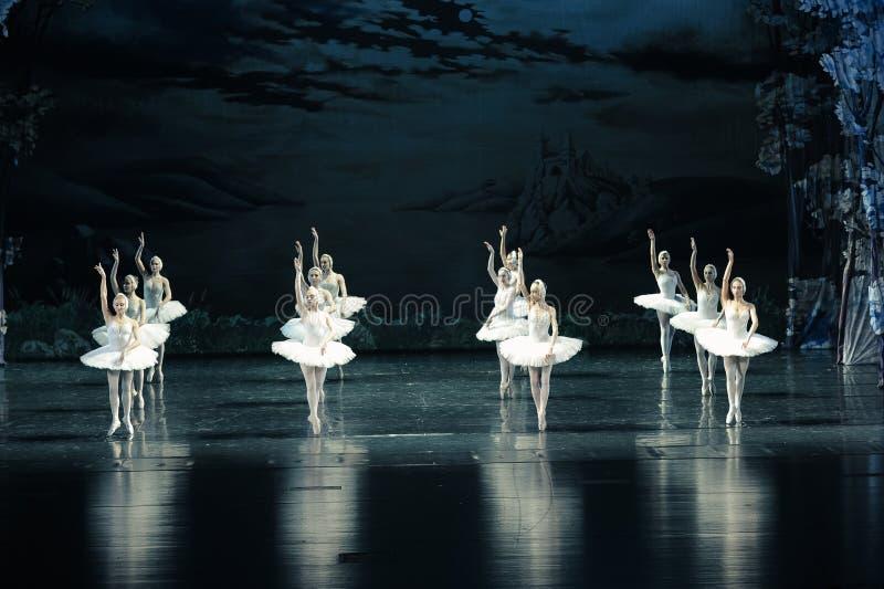 Reflexão no água-bailado O Lago das Cisnes imagens de stock