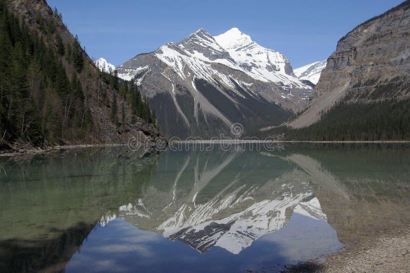 Reflexão perfeita da montanha de Whitehorn no lago Kinney, montagem Robson Provincial Park, Columbia Britânica fotografia de stock