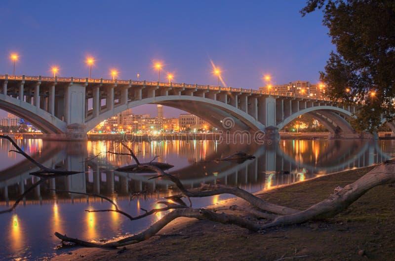 Reflexões & registro do rio fotografia de stock