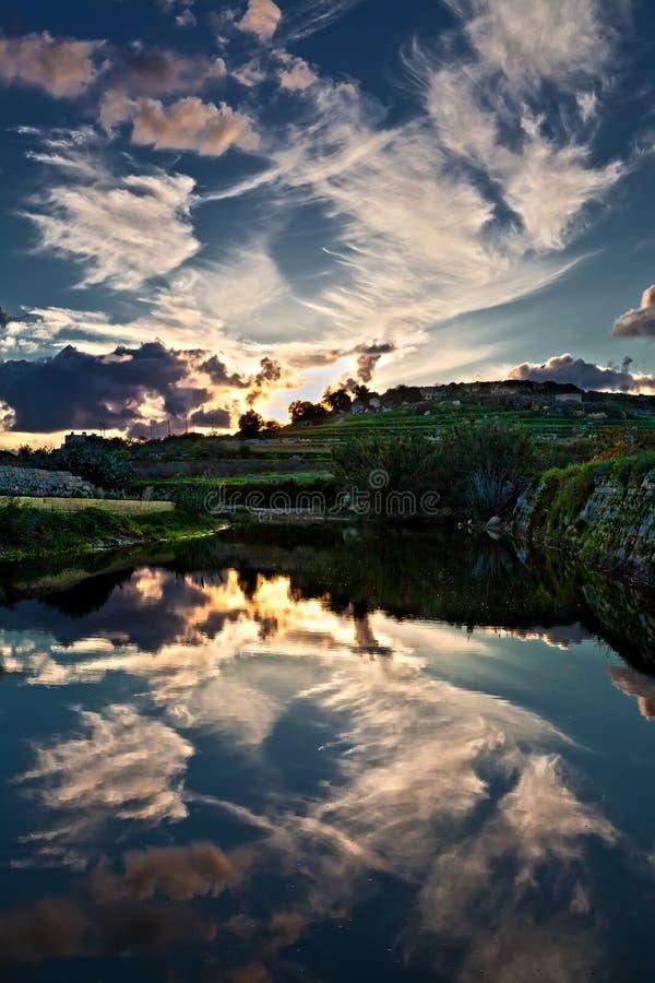 Reflexões da noite fotografia de stock