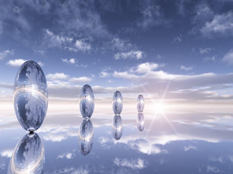 Reflexões do cromo do horizonte ilustração do vetor