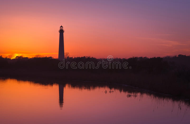 Reflexões do farol de Cape May foto de stock