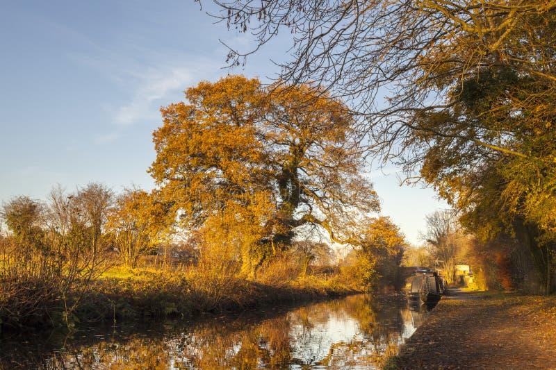Reflexões do outono do canal de Llangollen imagem de stock