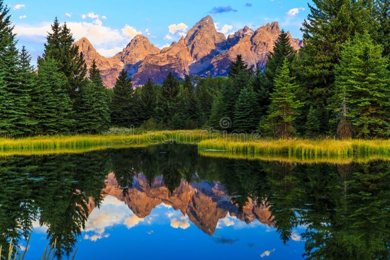 Reflexões grandes do parque nacional de Teton imagem de stock