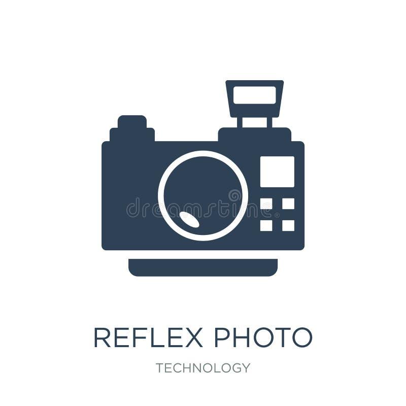 Reflexfotokameraikone in der modischen Entwurfsart Reflexfotokameraikone lokalisiert auf weißem Hintergrund Reflexfotokameravekto lizenzfreie abbildung