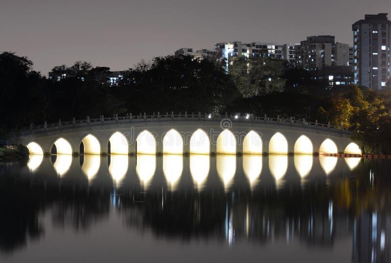 Reflexión blanca del puente del arco iris en agua en la noche en el jardín chino, Singapur fotografía de archivo