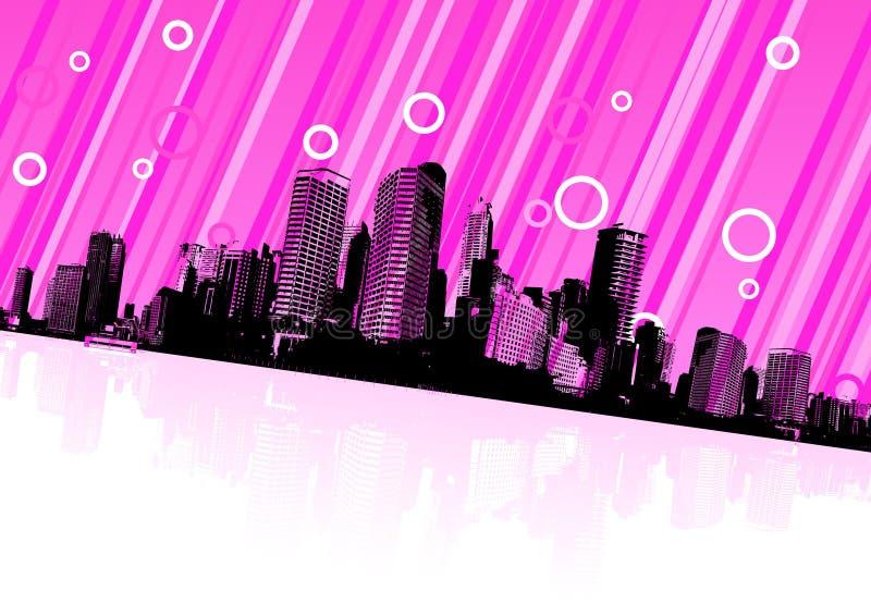 Download Reflexión De La Ciudad En El Agua. Vector Ilustración del Vector - Ilustración de contorno, líneas: 7282156