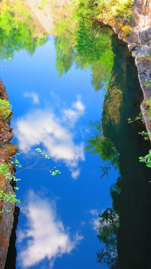 Reflexión de la nube en el agua azul imagen de archivo libre de regalías