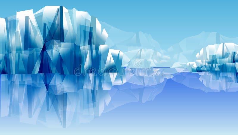 Reflexión de las rocas o de la montaña de la nieve en el agua ejemplo abstracto del vector Fondo del papel pintado