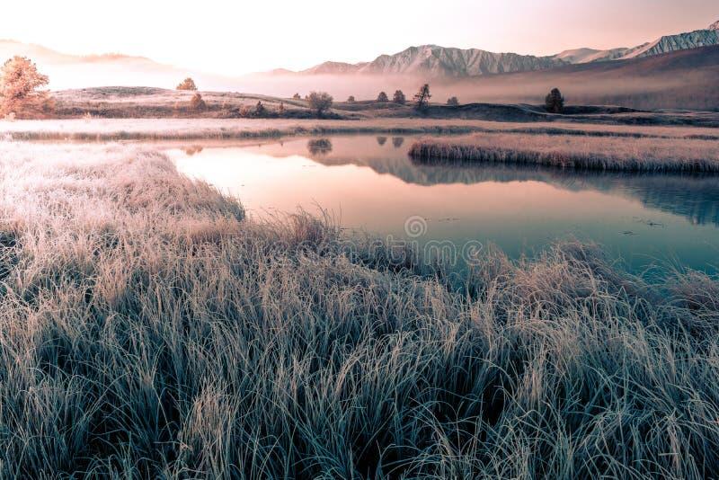 Reflexión de montañas con los picos nevosos fotos de archivo