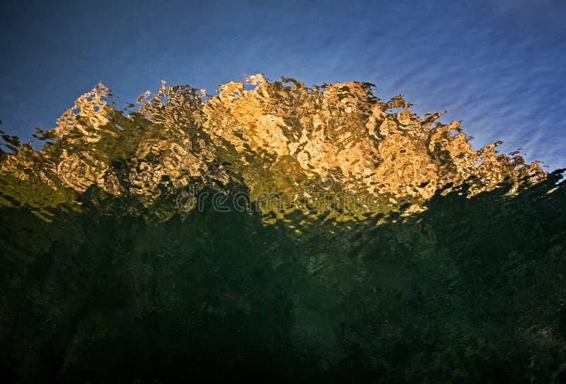 Reflexión de montañas en el agua de río, barranco de Matka, Macedonia foto de archivo
