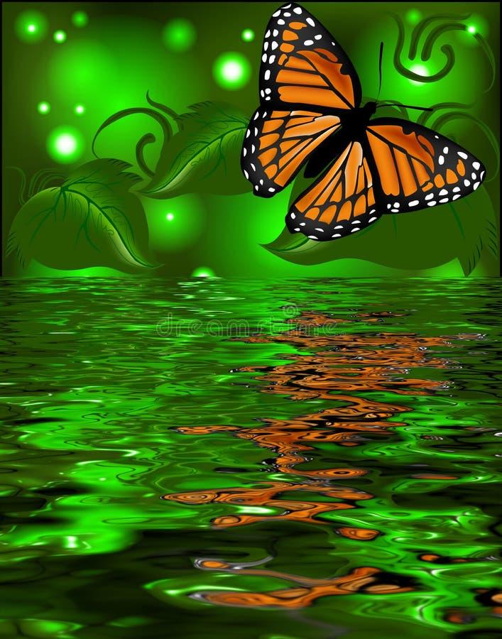 Reflexión de una mariposa en el agua en brillar intensamente detrás stock de ilustración
