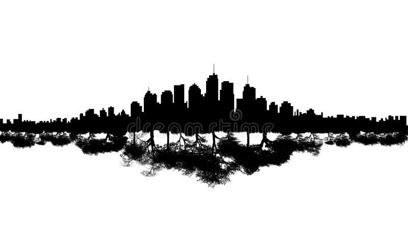 Reflexión del árbol del horizonte de la ciudad ilustración del vector