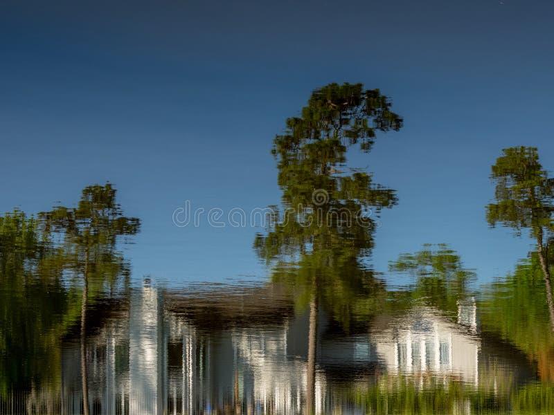 Reflexión del árbol y del edificio del cielo en agua imagen de archivo libre de regalías
