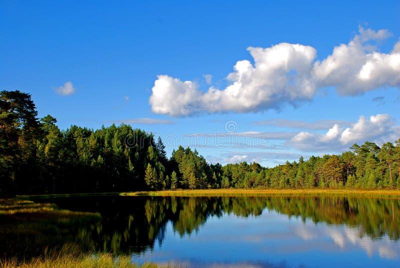 Reflexión del cielo en el lago   foto de archivo