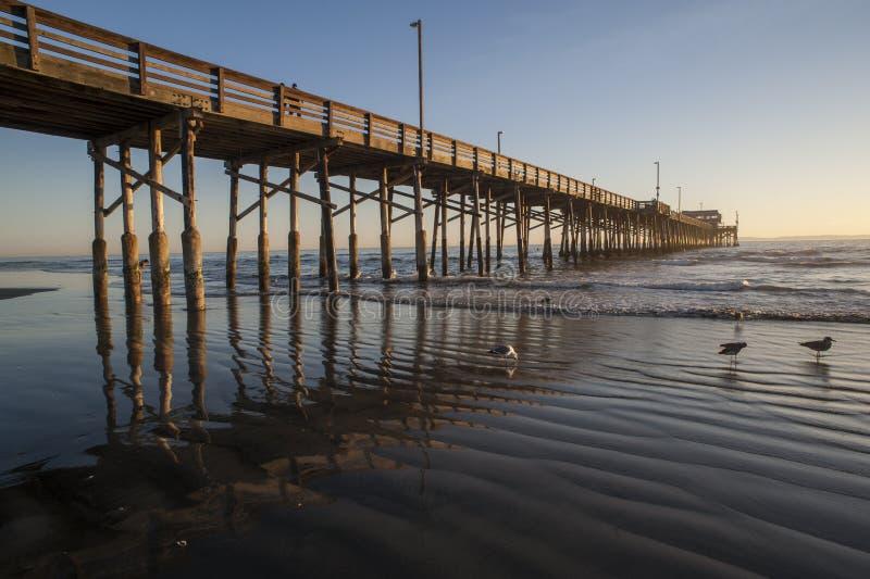 Reflexión del embarcadero de la playa de Newport imagen de archivo libre de regalías