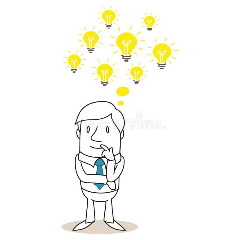 Reflexión del hombre de negocios con varias bombillas libre illustration