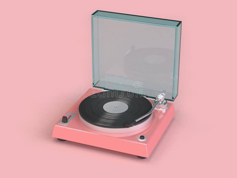 Reflexión metálica del rosa, de cristal brillante del fondo rosado suave mínimo 3d del jugador del vinilo rendir concepto de la m libre illustration