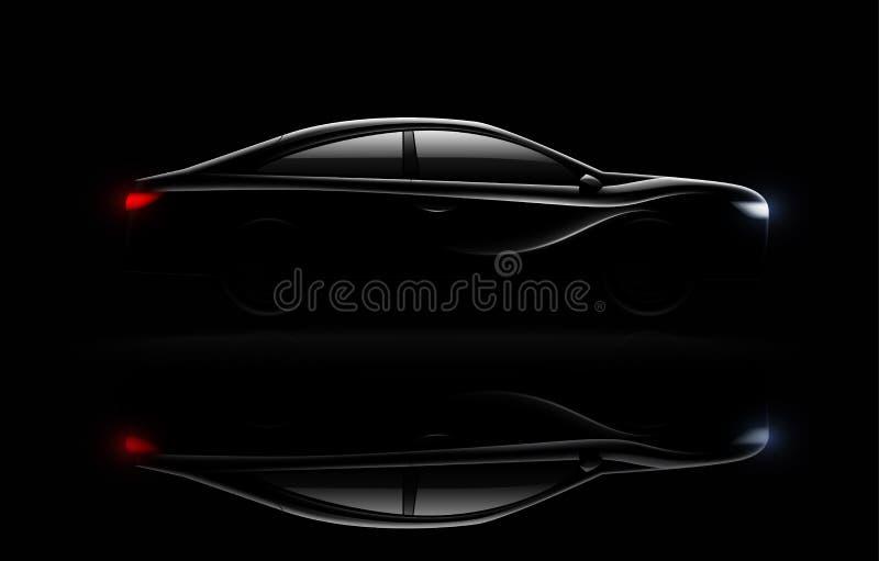 Reflexión realista aligerada de la oscuridad del coche libre illustration