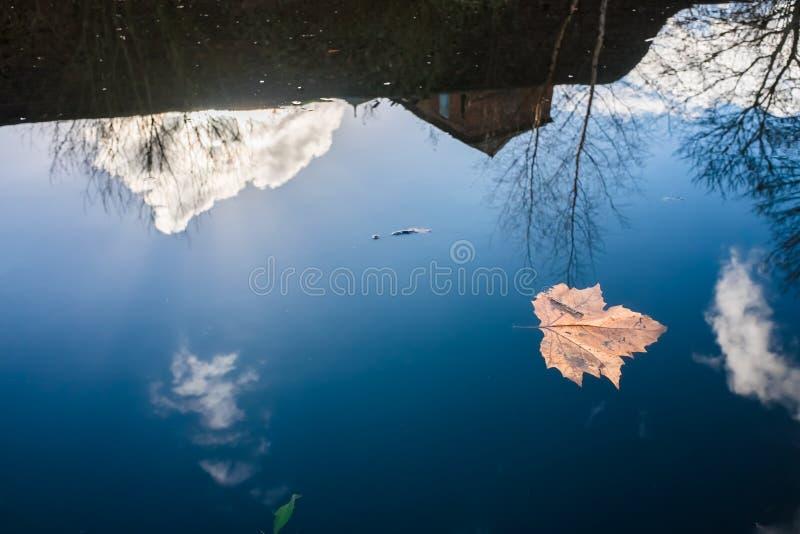 Reflexion auf ruhigem Wasser an Birmingham-Kanal stockbild