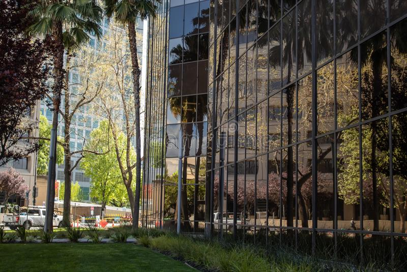 Reflexion av den i stadens centrum miljön royaltyfri fotografi