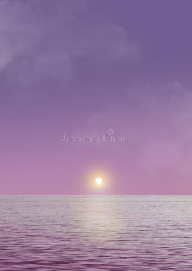 Reflexion av den så fantastiska solnedgången stock illustrationer
