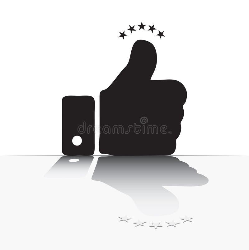 Reflexion av ett finger stock illustrationer