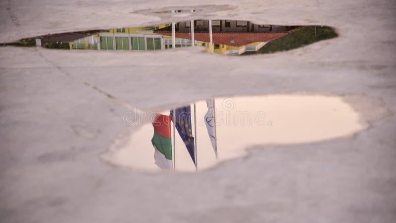Reflexion av flaggorna av Bulgarien och den europeiska unionen arkivbild