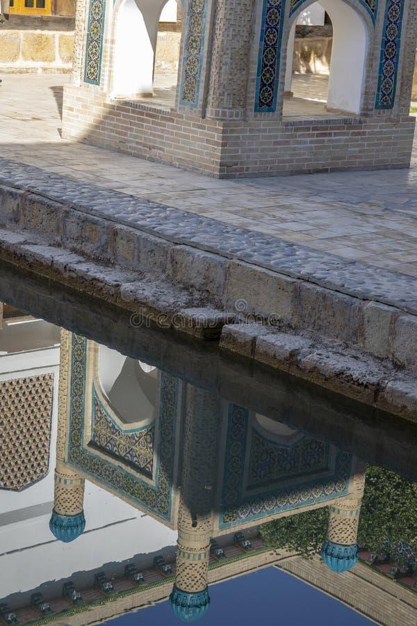 Reflexion av relikskrin, i den borggårdBahouddin Nakshband gravvalvet, Buk arkivfoton
