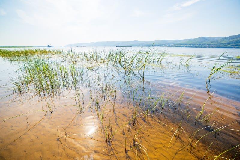 Reflexion av solilsken blick i en flod pÃ¥ en sandig strand fotografering för bildbyråer