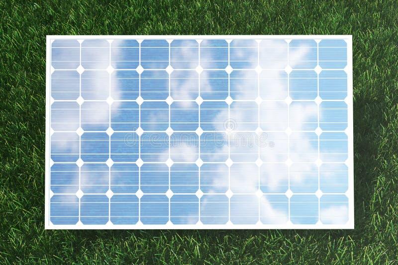 Reflexion der Illustration 3D der Wolken auf den Solarzellen Energie und Strom Alternative Energie, eco oder lizenzfreie abbildung