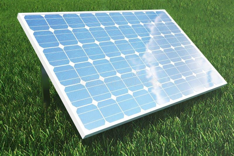 Reflexion der Illustration 3D der Wolken auf den Solarzellen Energie und Strom Alternative Energie, eco oder vektor abbildung