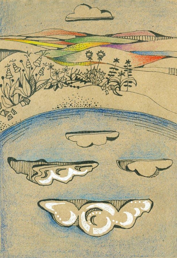 Reflexion des Himmels mit Wolken im See umgeben durch Blumen lizenzfreie abbildung