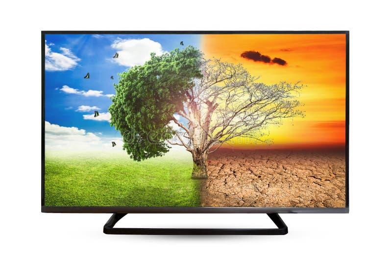 Reflexion för televisionbildskärmvatten som isoleras på vit bakgrund arkivfoton