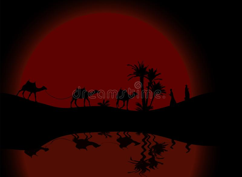 Reflexion i vattenkontur av att irra för för husvagnmit-folk och kamel royaltyfri illustrationer