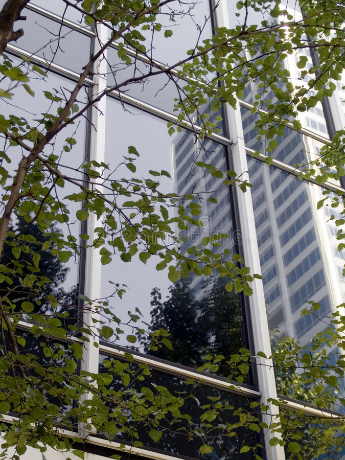 Reflexion im Geschäfts-Gebäude lizenzfreies stockbild