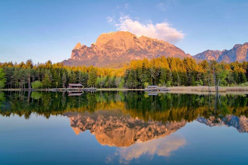 Reflexion på dammet av fie, berg i sjön arkivbilder