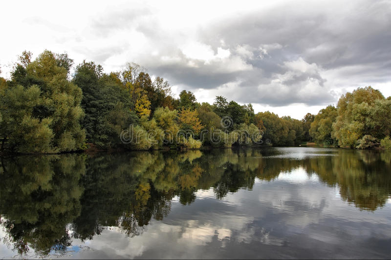 Download Reflexion in the water stock photo. Image of trees, water - 13069546
