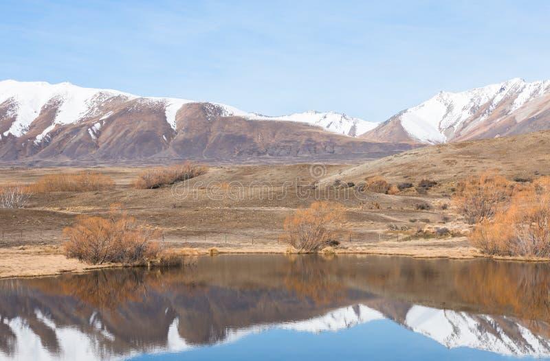 Reflexionen av snö täckte berg i en liten sjö royaltyfri fotografi