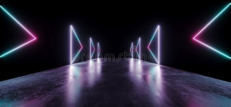 Reflexionen för golvet för Grunge för framtida för pilneonshowen vibrerande lilor för glöd ställer ut den tomma blåa moderna futu stock illustrationer
