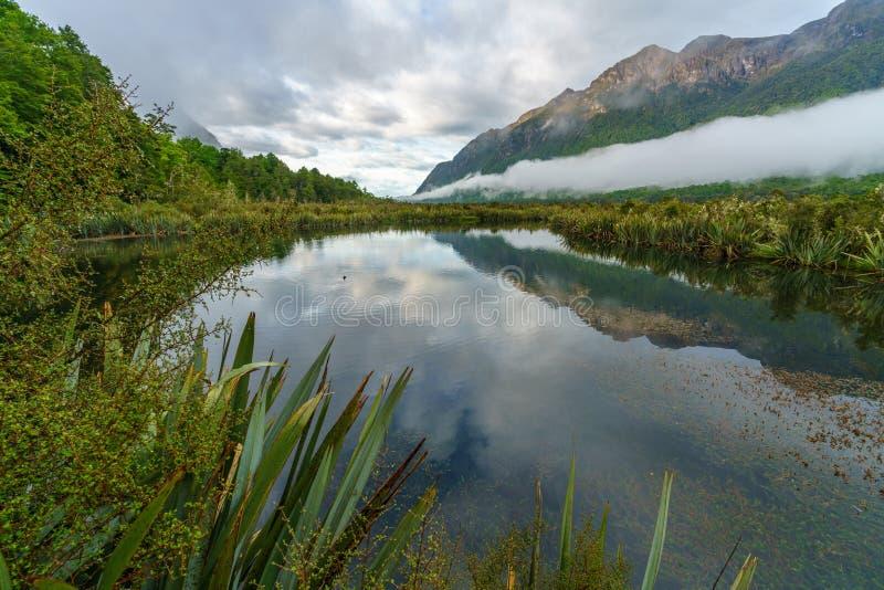 Reflexionen von Bergen in den Spiegelseen, Neuseeland 2 lizenzfreie stockfotografie