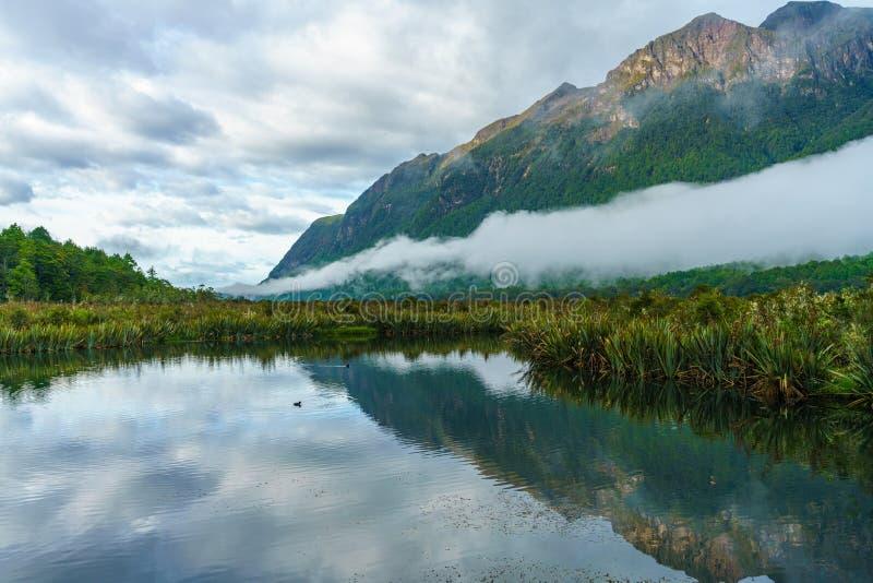 Reflexionen von Bergen in den Spiegelseen, Neuseeland 7 stockfotografie