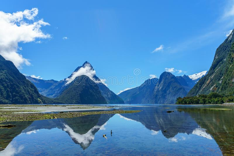 Reflexionen von Bergen im Wasser, Milford Sound, Neuseeland 19 lizenzfreies stockfoto