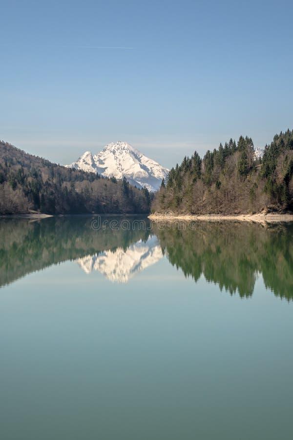 Reflexioner av ett korkad berg och skog för snö i en sjö i th fotografering för bildbyråer