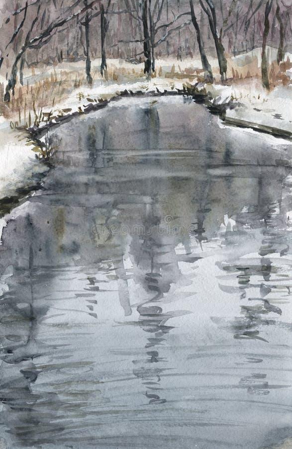 Reflexioner i floden stock illustrationer