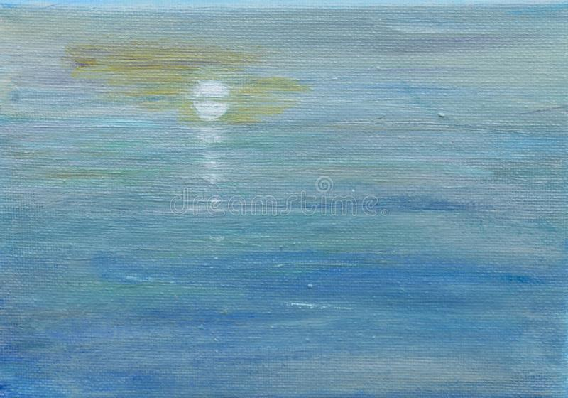 Reflexioner, måne och hav arkivbild