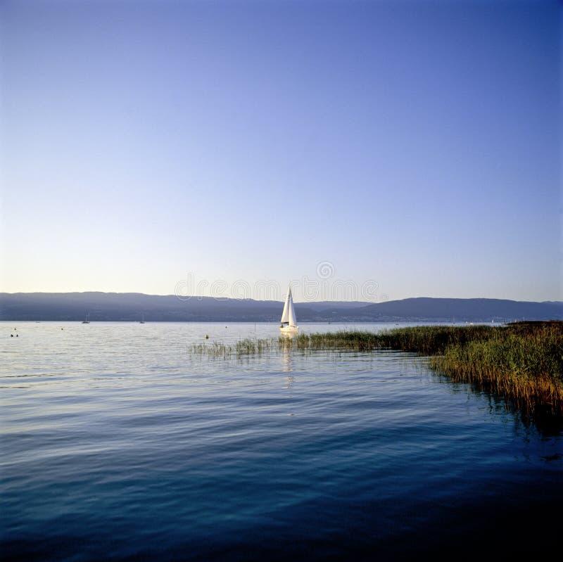 Reflexiones del agua de Suiza Friburgo Cheyres del paisaje marino fotografía de archivo