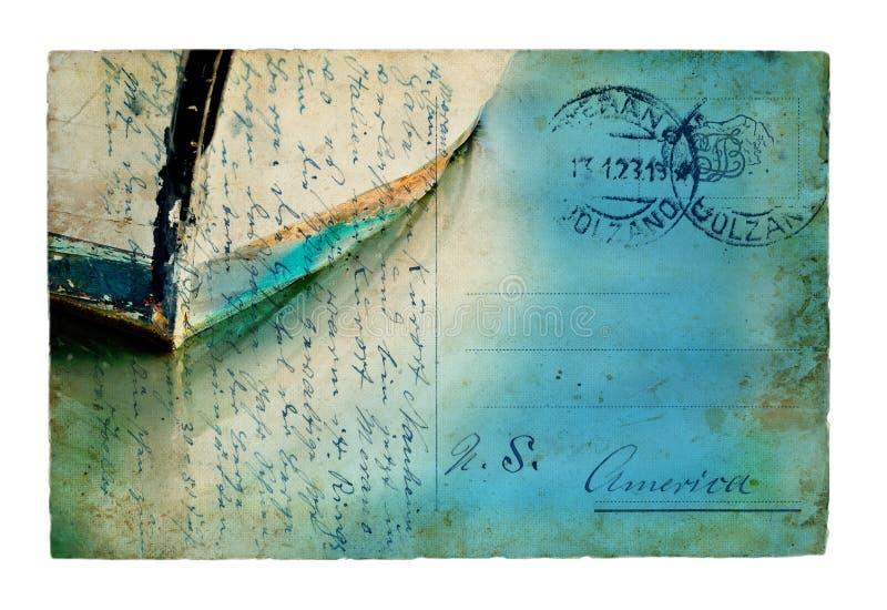 Reflexiones del barco en una postal de la vendimia foto de archivo libre de regalías