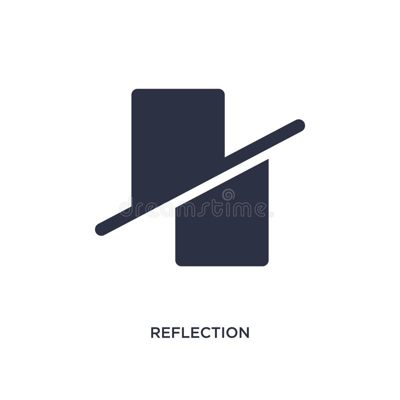 reflexionssymbol på vit bakgrund Enkel beståndsdelillustration från geometribegrepp royaltyfri illustrationer